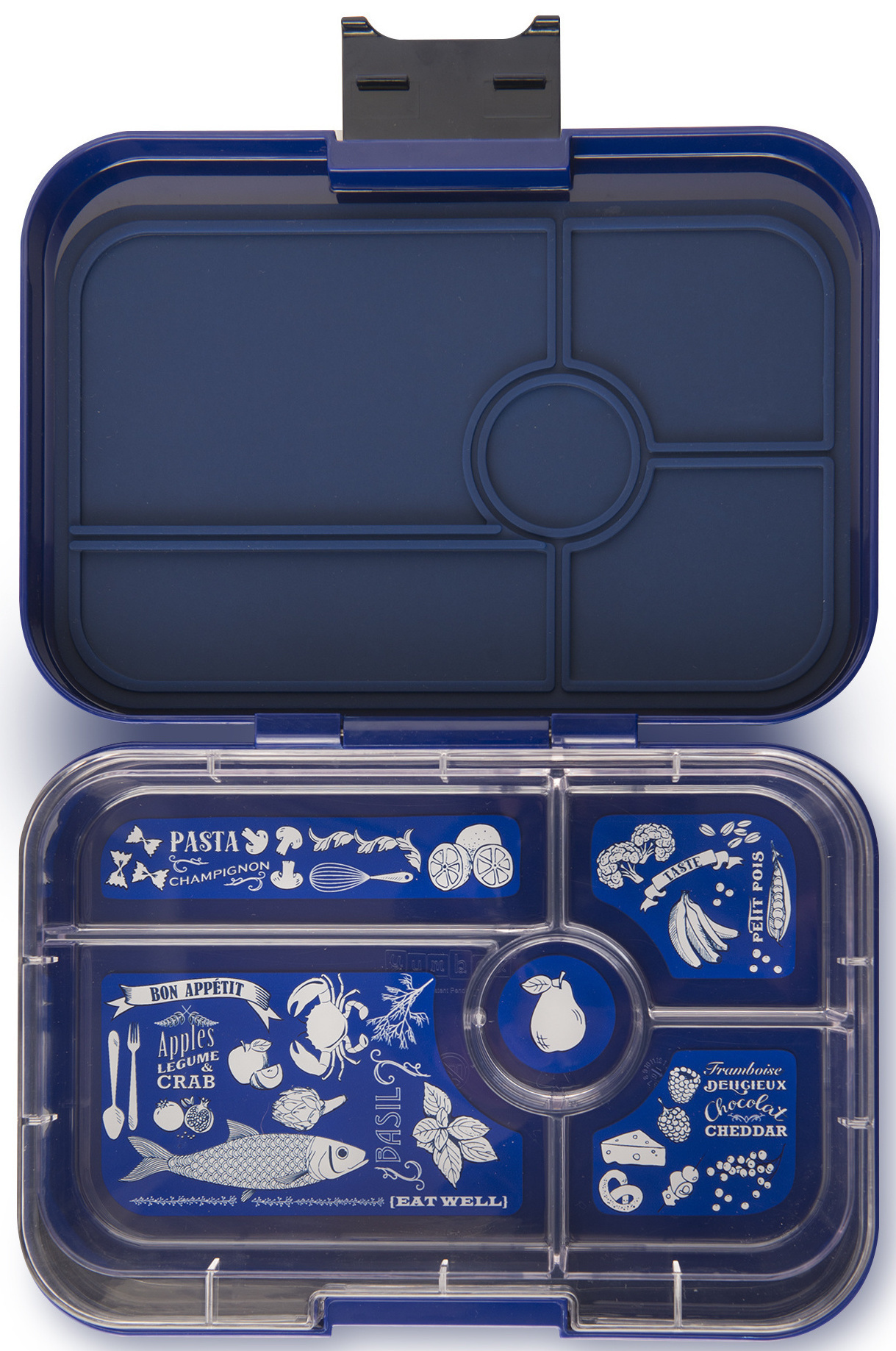 Yumbox Tapas XL lunchtrommel Portofino blauw / Bon appetit tray 5-vakken-1