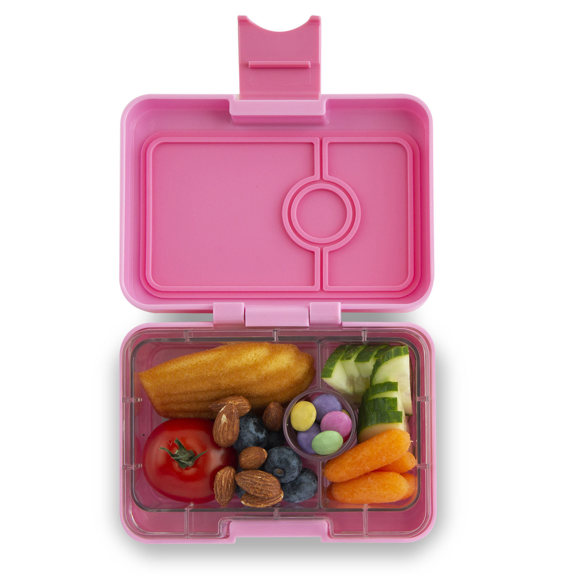 Yumbox MiniSnack box 3 sections Stardust pink / Toucan tray-2