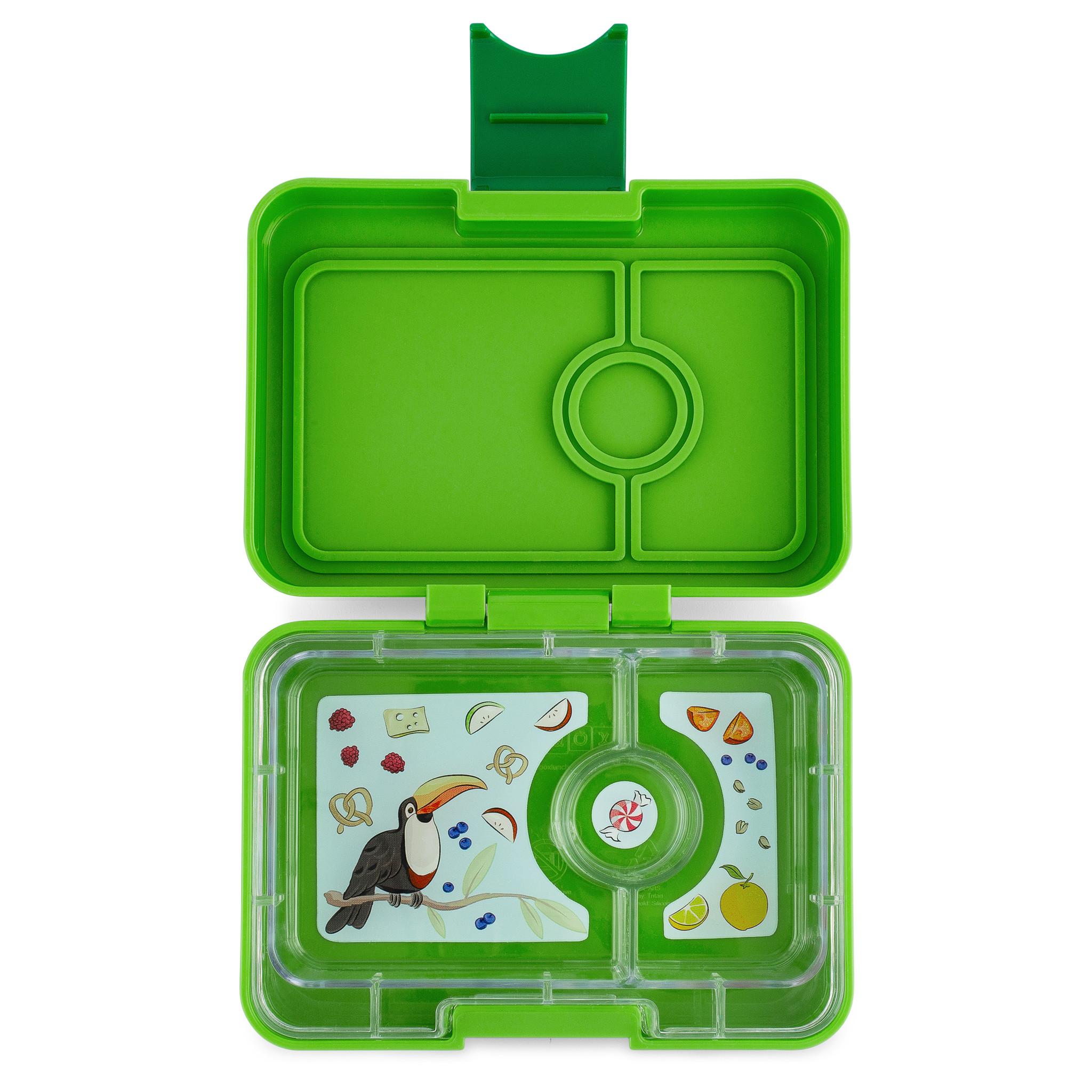 Yumbox MiniSnack broodtrommel 3 vakken Avocado groen (Go groen) / Toucan tray-2
