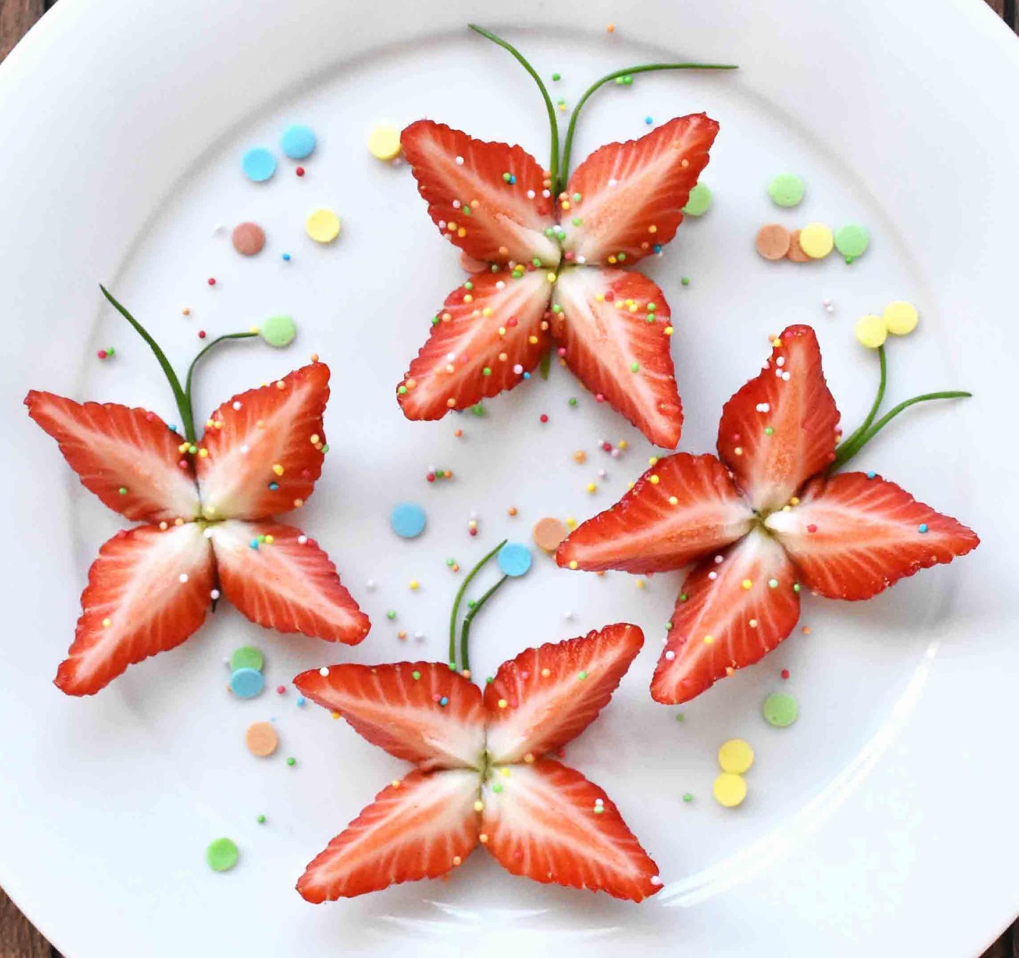 Aardbeien vlindertjes