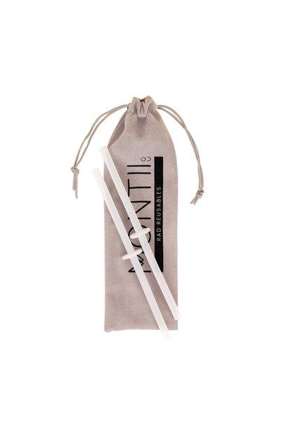 MontiiCo Straws - Silicone Mini Stopper Straw Set - 2 Clear