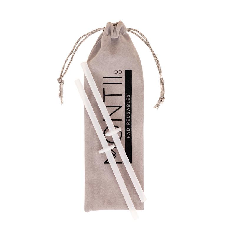 MontiiCo Straws - Silicone Mini Stopper Straw Set - 2 Clear-1