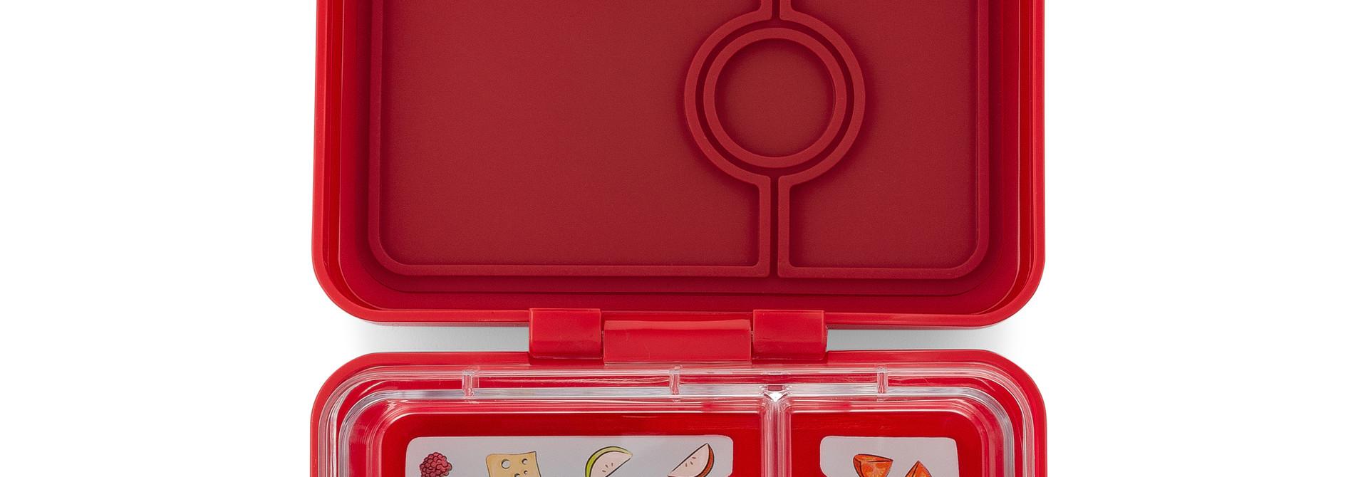 Yumbox MiniSnack broodtrommel 3 vakken Wow rood / Toucan tray