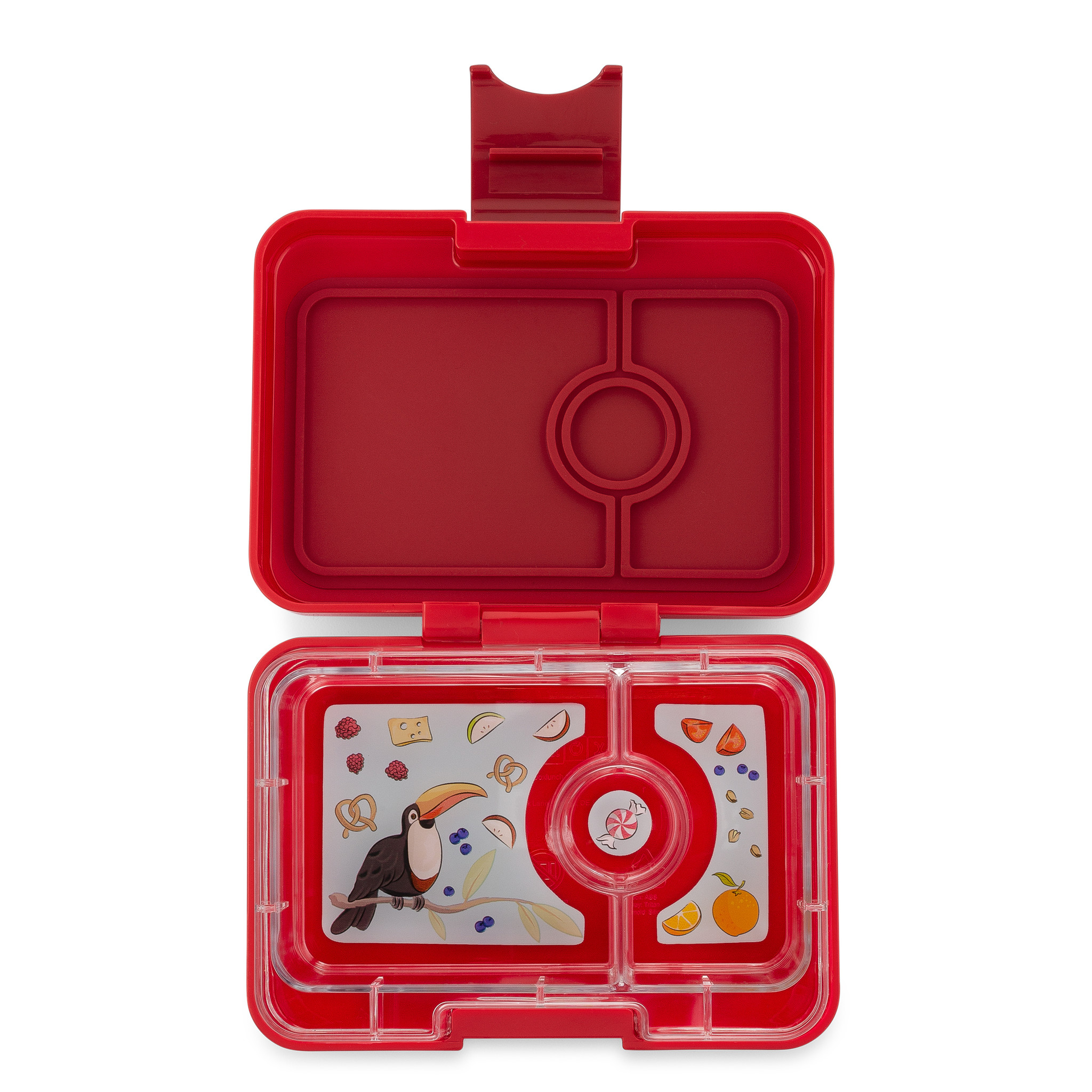 Yumbox MiniSnack broodtrommel 3 vakken Wow rood / Toucan tray-1