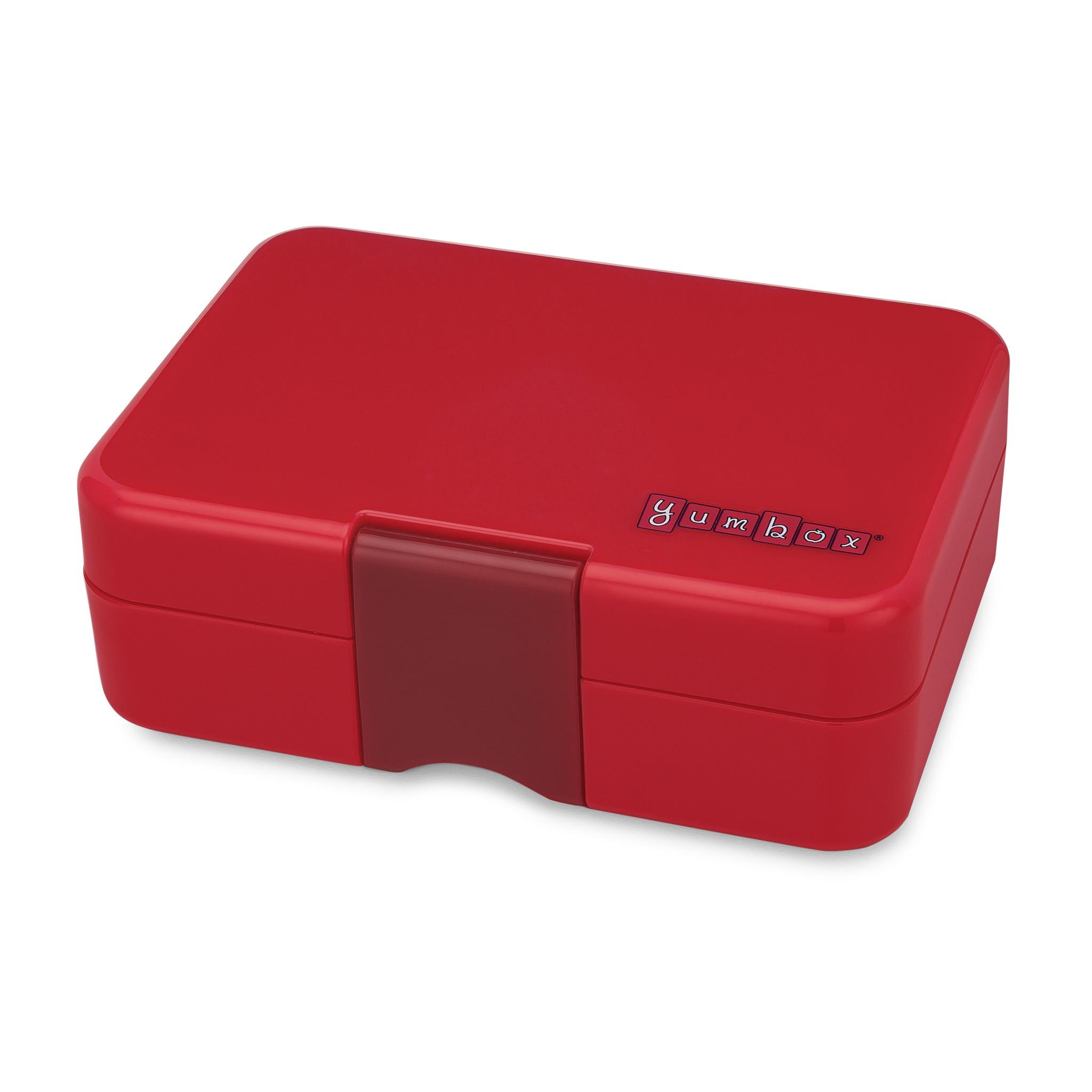 Yumbox MiniSnack broodtrommel 3 vakken Wow rood / Toucan tray-2