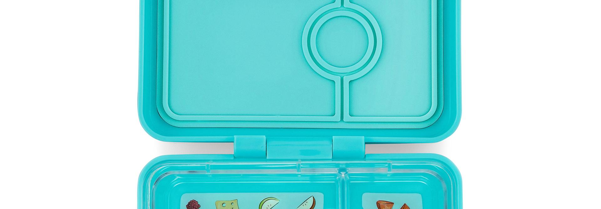 Yumbox MiniSnack broodtrommel 3 vakken Misty aqua / Toucan tray