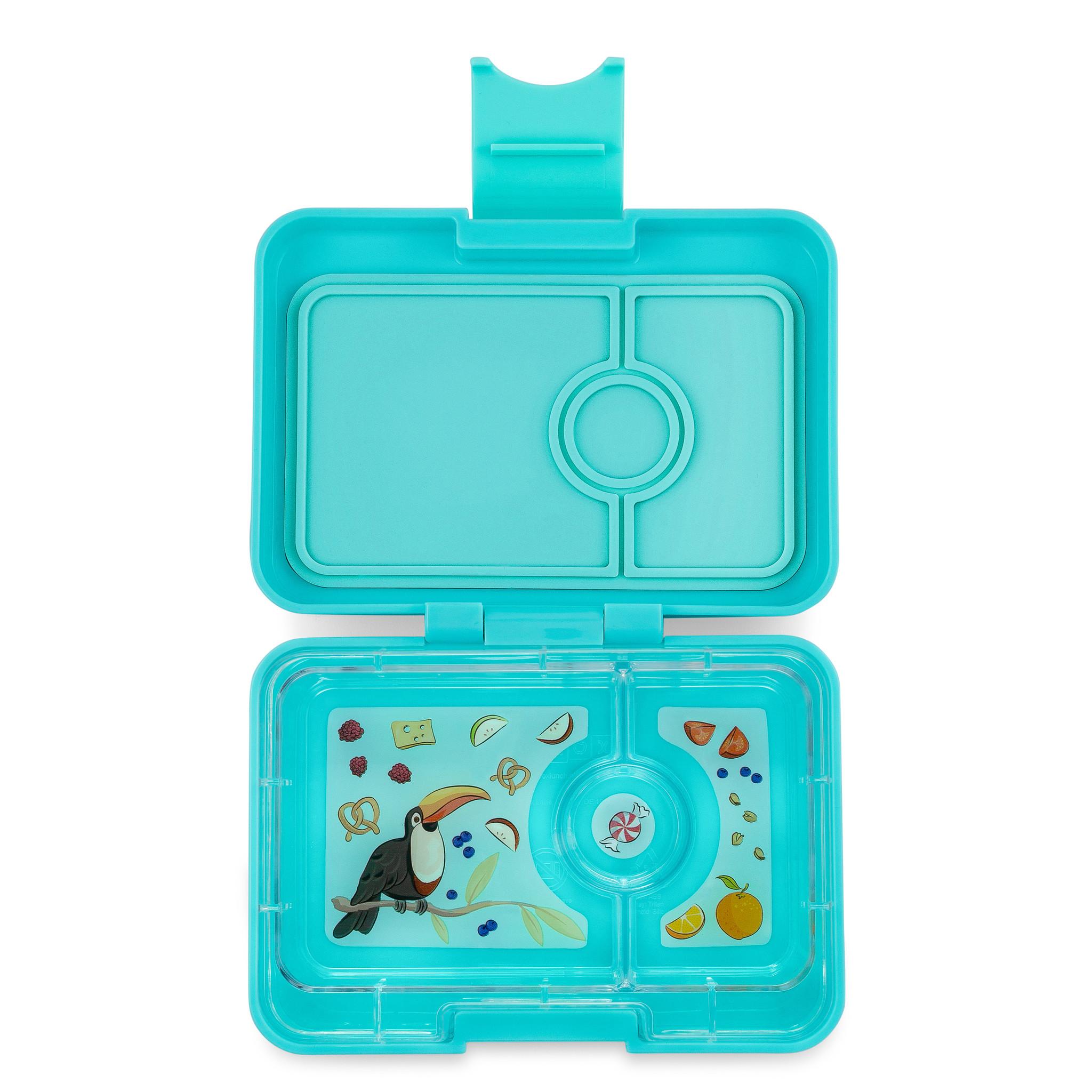 Yumbox MiniSnack broodtrommel 3 vakken Misty aqua / Toucan tray-1