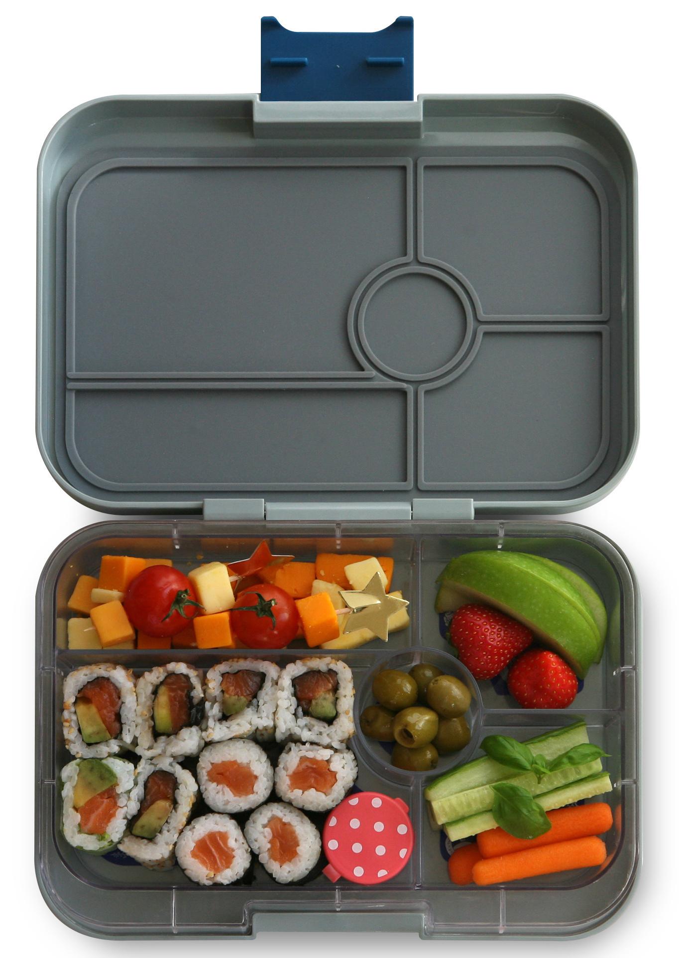 Yumbox Tapas XL lunchtrommel Flat Iron grijs / Transparant tray 5 vakken-2