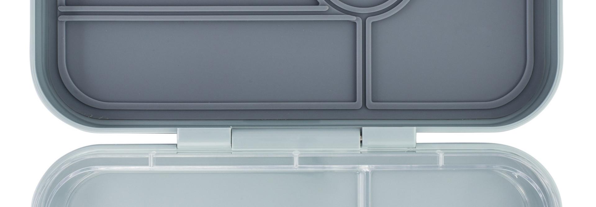 Yumbox Tapas XL lunchtrommel Flat Iron grijs / Transparant tray 5 vakken