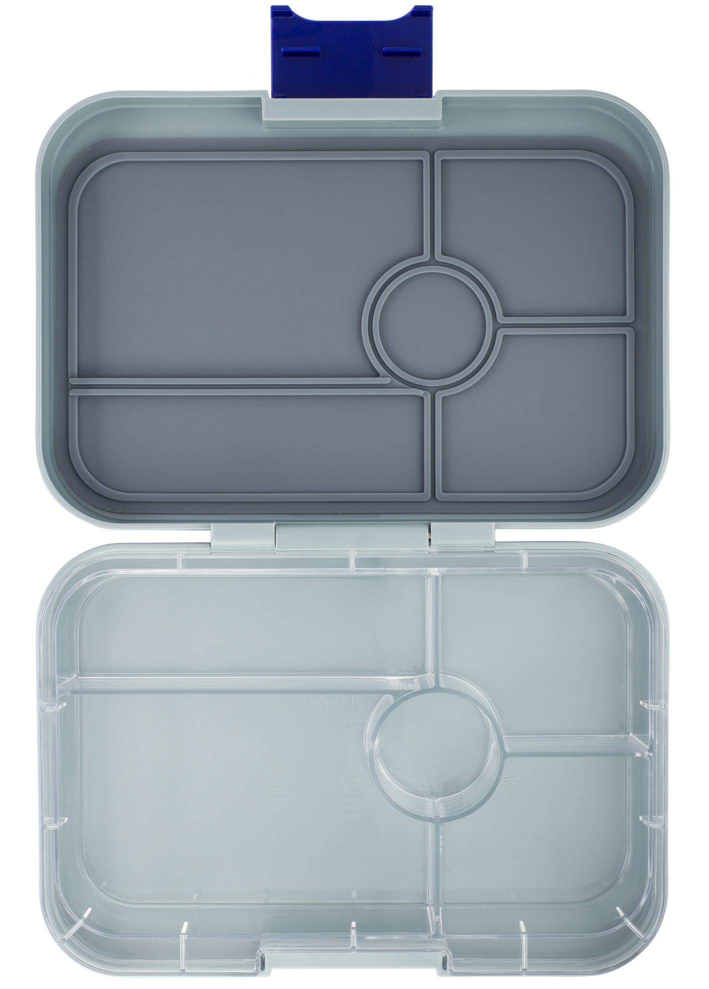 Yumbox Tapas XL lunchtrommel Flat Iron grijs / Transparant tray 5 vakken-1
