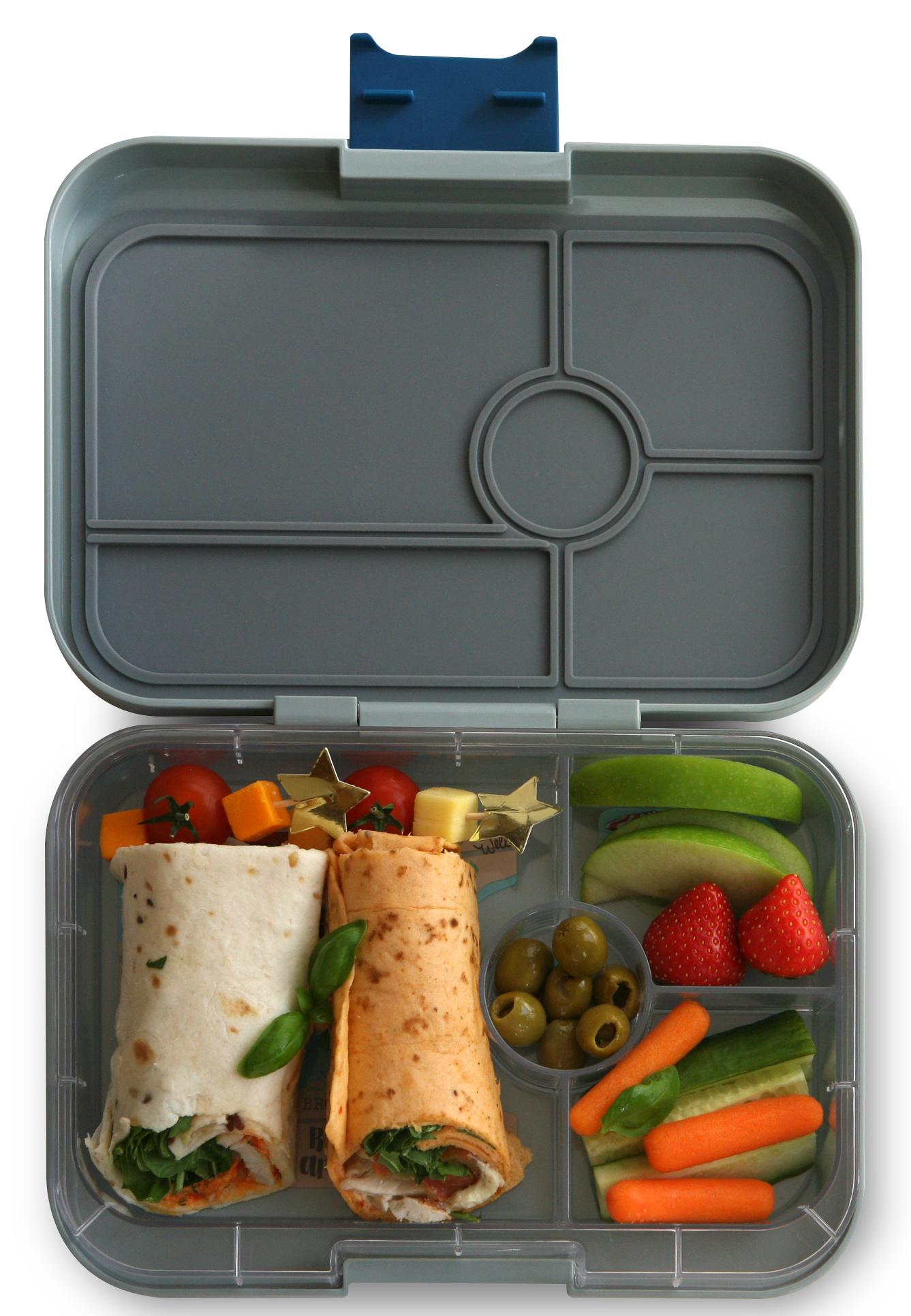 Yumbox Tapas XL lunchtrommel Flat Iron grijs / transparante tray 4 vakken-2