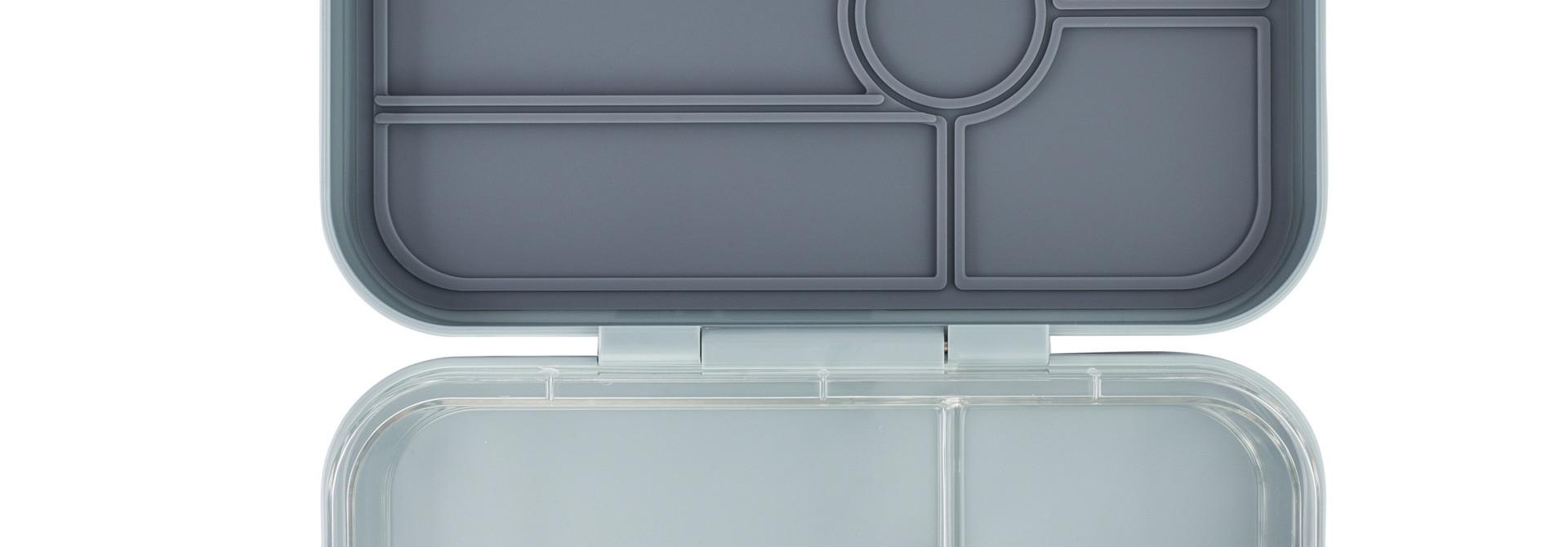 Yumbox Tapas XL lunchtrommel Flat Iron grijs / transparante tray 4 vakken