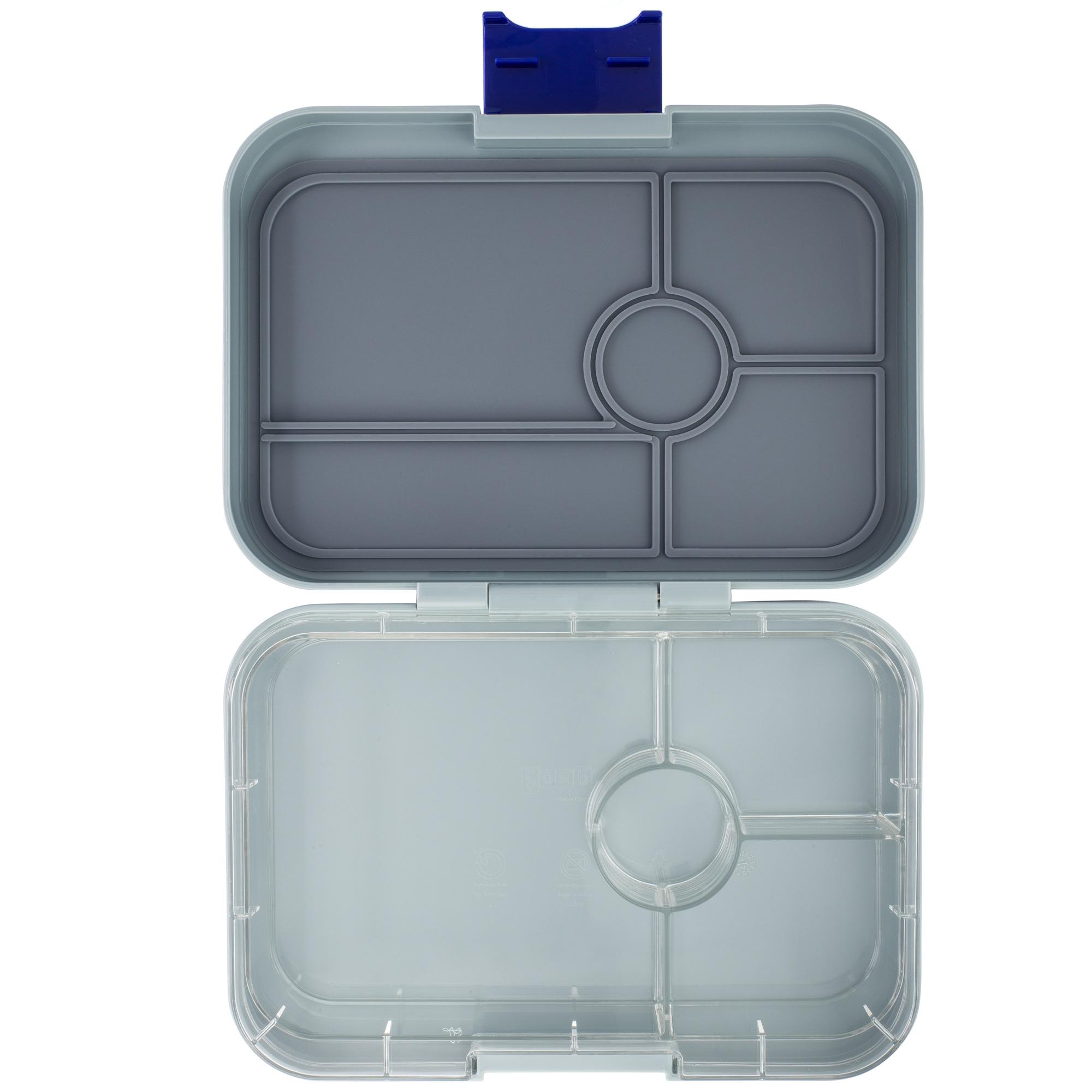 Yumbox Tapas XL lunchtrommel Flat Iron grijs / transparante tray 4 vakken-1