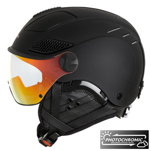 Mango Quota Free Skihelm met vizier - 2019 | Total Black | Photochromic  Flash Orange Cat.2