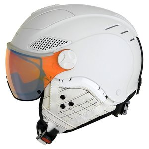 Mango Quota Free Skihelm met vizier - 2019 | Total White | VQFR Transp. Flash Red Mirror