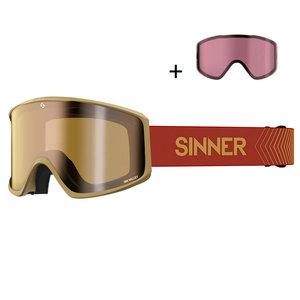 Sinner Sin Valley S Skibril - 2020 - Zandkleurig + GRATIS EXTRA LENS