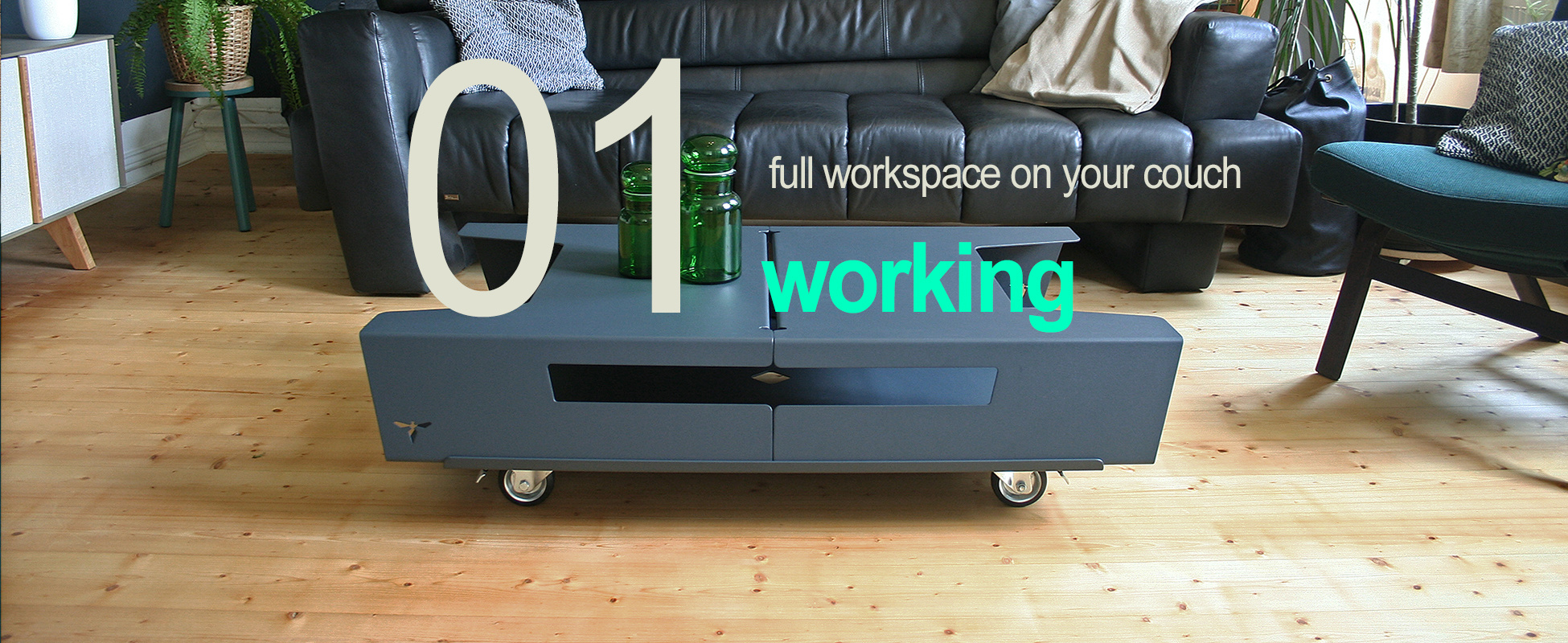 Working- full workspace on your couch