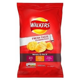Walkers Walkers Crisps Meaty 6 pack 6 x 25 gr