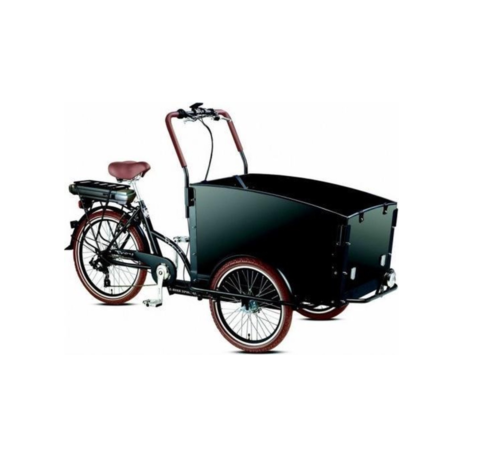 Troy E-bike  Vogue Special Bakfiets - Fiets (elektrisch) - Unisex - Zwart/Bruin met huif!