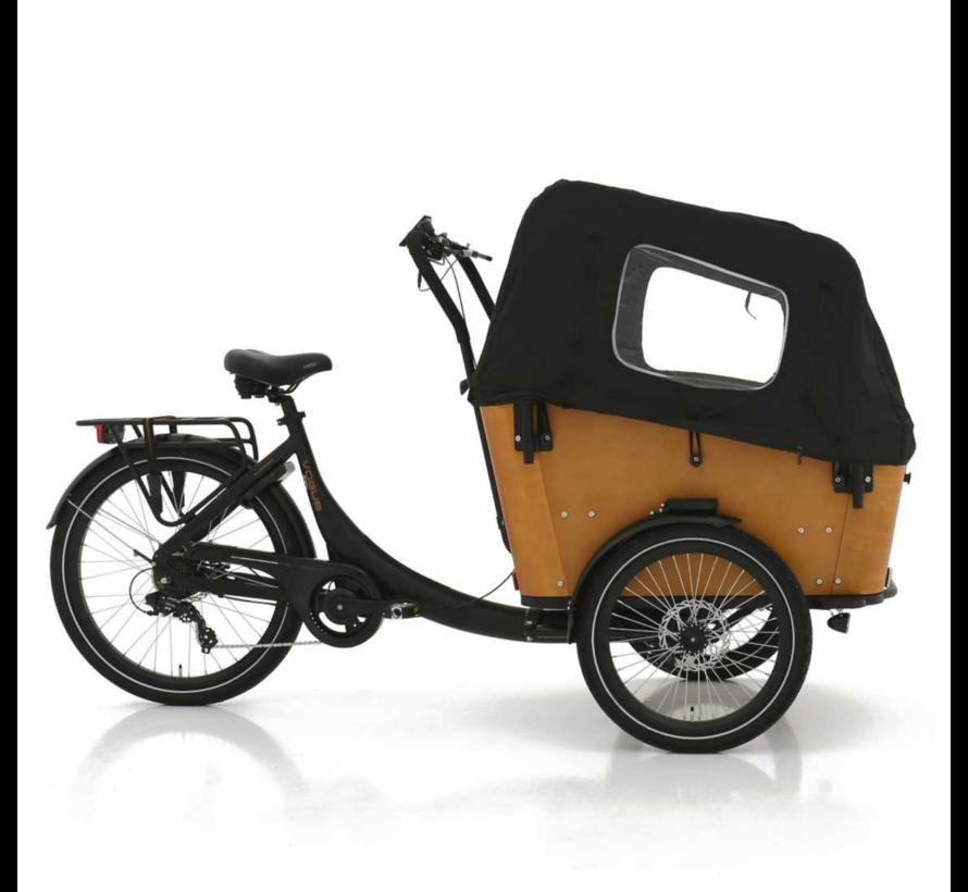 Vogue Elektrische bakfiets Superior 3 mat zwart/bruin 468 watt