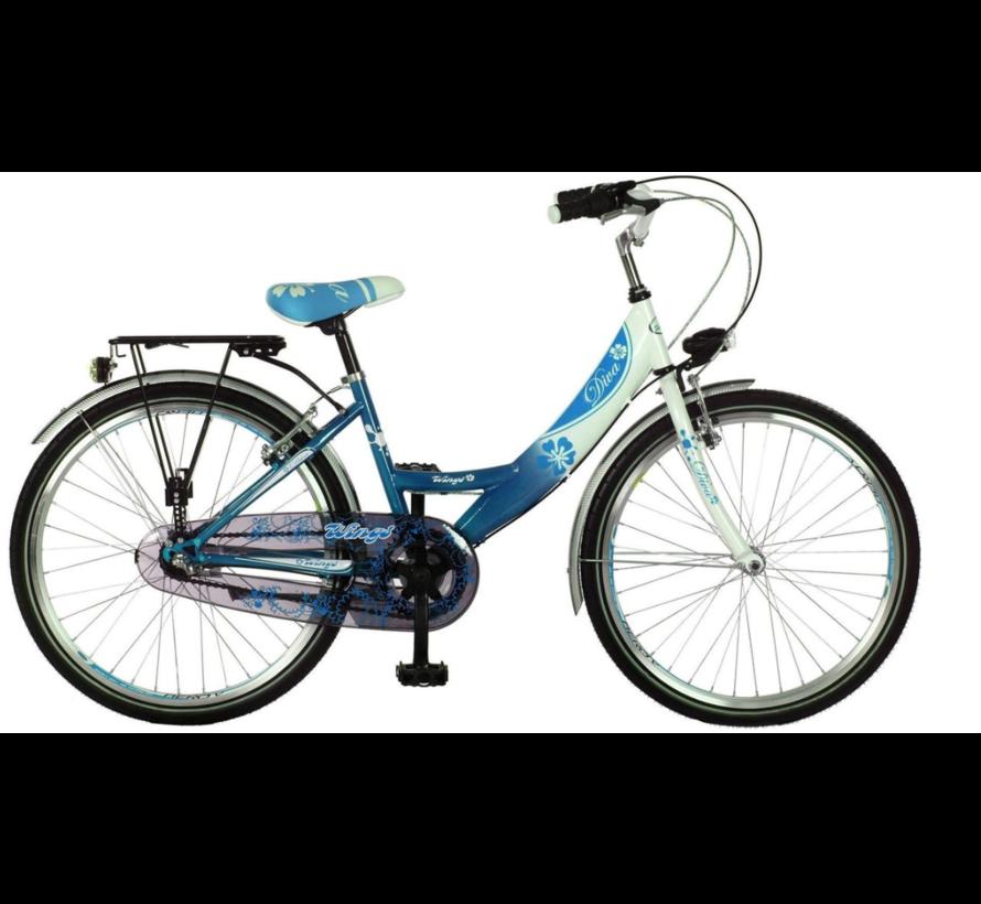Meisjesfietsen Diva H 35 Cm 24 inch 3 Speed Nexus blauw wit