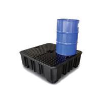 Tina de retenção de plástico com grade, 485 l, 1380x1290x480mm