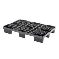 Palete de plástico para contentor marítimo, 9 tacos, topo perfurado, 1140x760x155mm