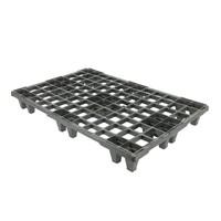 Palete de plástico, formato europeu, 24 apoios, topo perfurado com rebordo, 1200x800x138mm