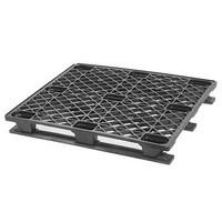 Palete de plástico industrial, 3 patins desmontáveis, topo perfurado, 1200x1000x145mm