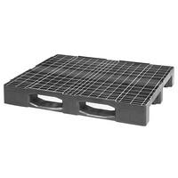 Palete de plástico industrial, 3 patins, topo perfurado, 1200x1000x160mm