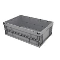 Caixa de plástico, fechada, rebatível, 39 l, 594x396x214mm