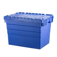Caixa de plástico, encaixável, tampa articulada, 600x400x416mm