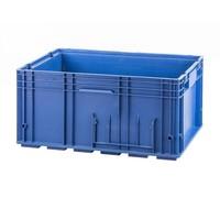 Caixa de plástico empilhável R-KLT 6429, base fechada com nervuras, 594x396x280mm