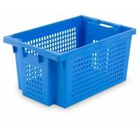 Caixa de plástico encaixável, perfurada, 50 litros, 600x400x300mm