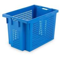 Caixa de plástico encaixável, perfurada, 70 litros, 600x400x400mm