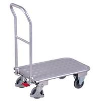 Carrinho de plataforma em alumínio e pega rebatível deslizante, 815x450x950mm