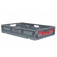Caixa de plástico, perfurada, rebatível, 23 l, 600x400x115mm