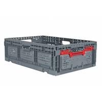 Caixa de plástico, perfurada, rebatível,  39 l, 600x400x185mm