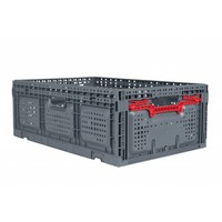 Caixa de plástico, perfurada, rebatível, 46 l, 600x400x219mm