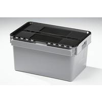 Caixa de plástico, encaixável, tampa articulada, 600x400x320