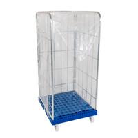 Cobertura plástico transparente, para Roll Containers com as dimensões de 730x820x1460mm