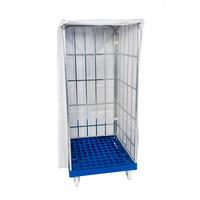 Cobertura plástico branco, para Roll Containers com as dimensões de 730x820x1650mm – uso múltiplo com fecho
