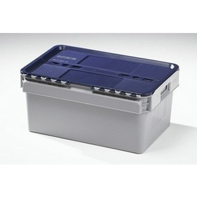 Caixa de plástico, encaixável, tampa articulada, 600x400x275mm