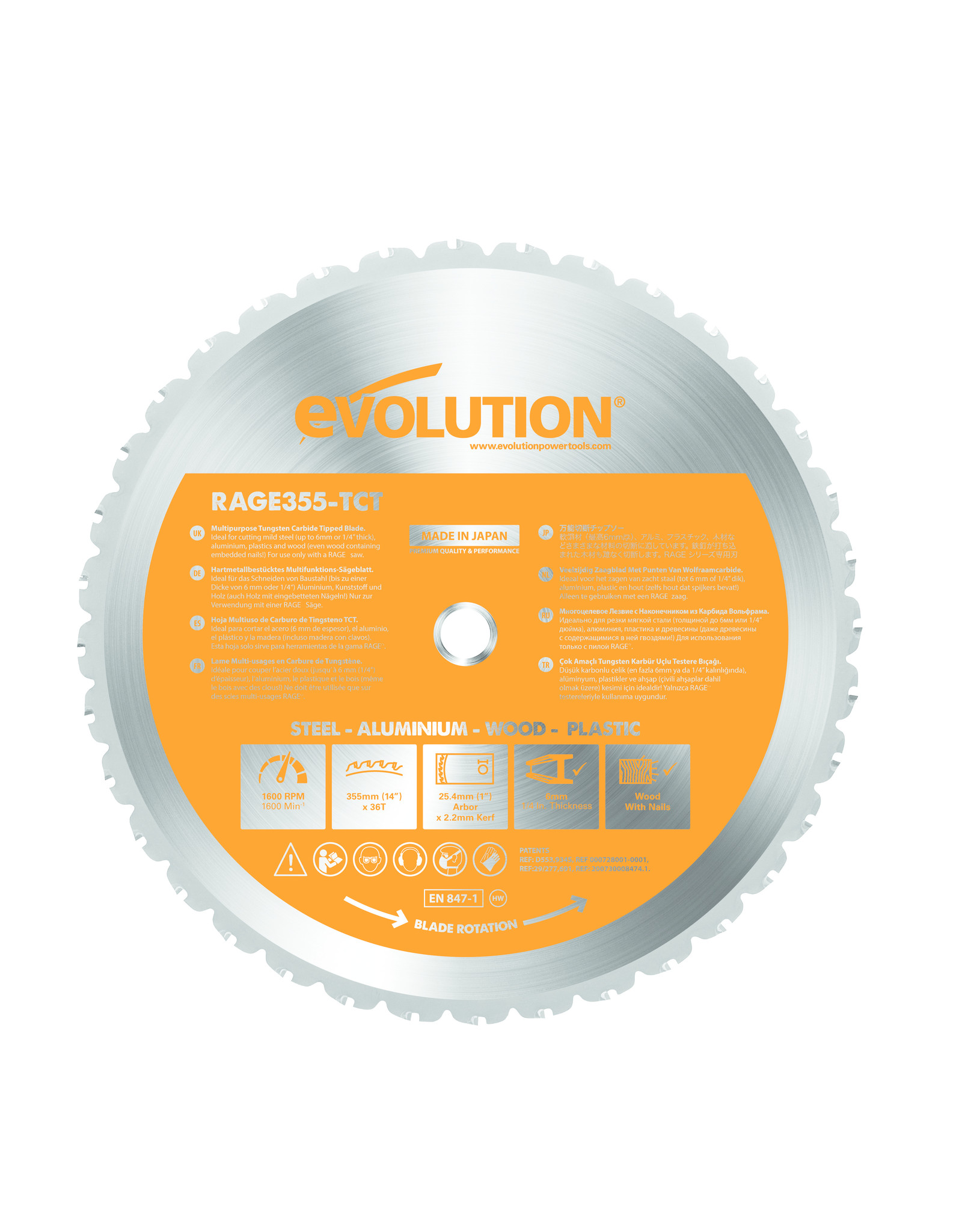 Evolution Power Tools Build Line MULTIFUNCTIONAL SAW BLADE RAGE 355 MM
