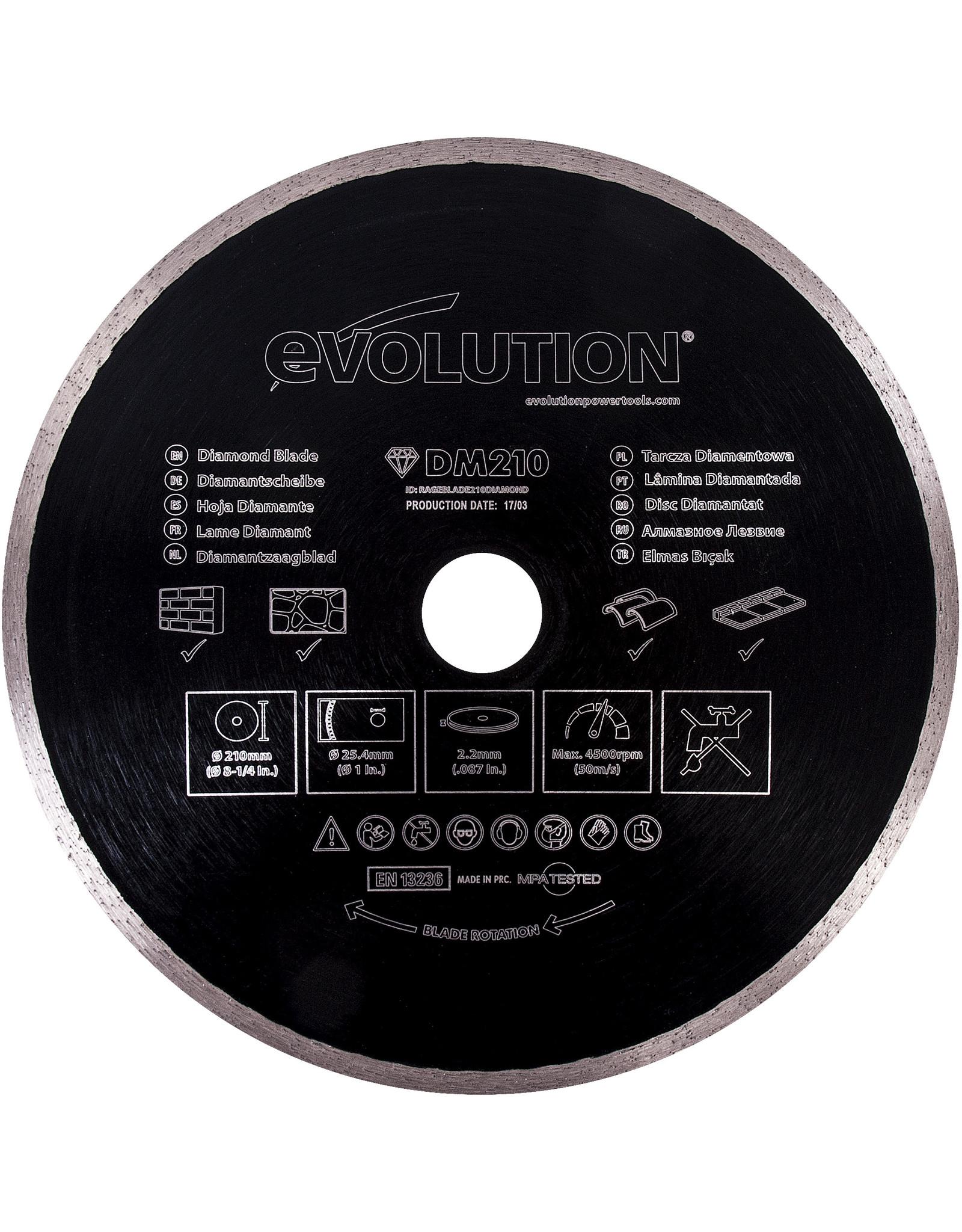 Evolution Power Tools Build Line DIMSQUE DIAMANTÉ RAGE 210 M