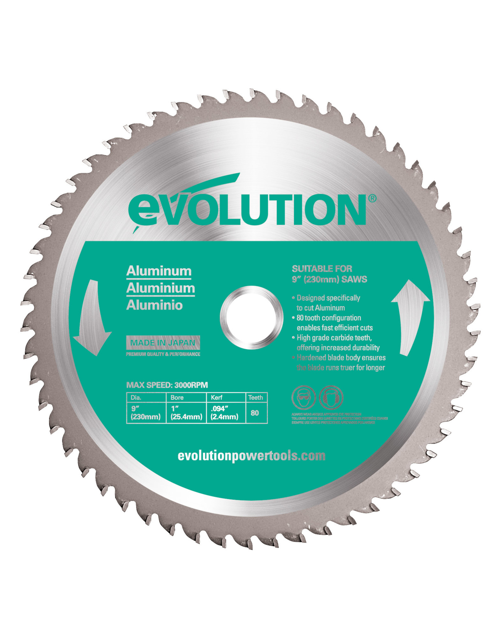 Evolution Power Tools Steel Line SAW BLADE ALUMINIUM 230 MM