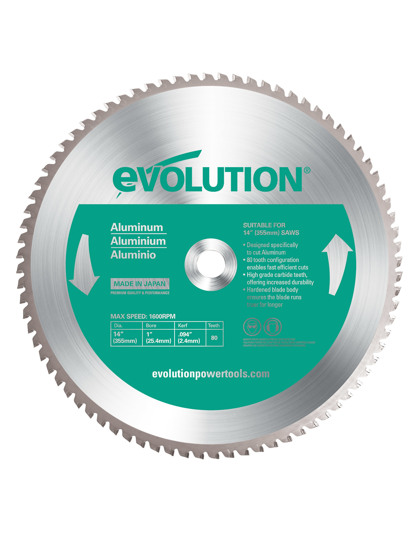 Evolution Power Tools Steel Line ALUMINIUM KLINGE 355 MM