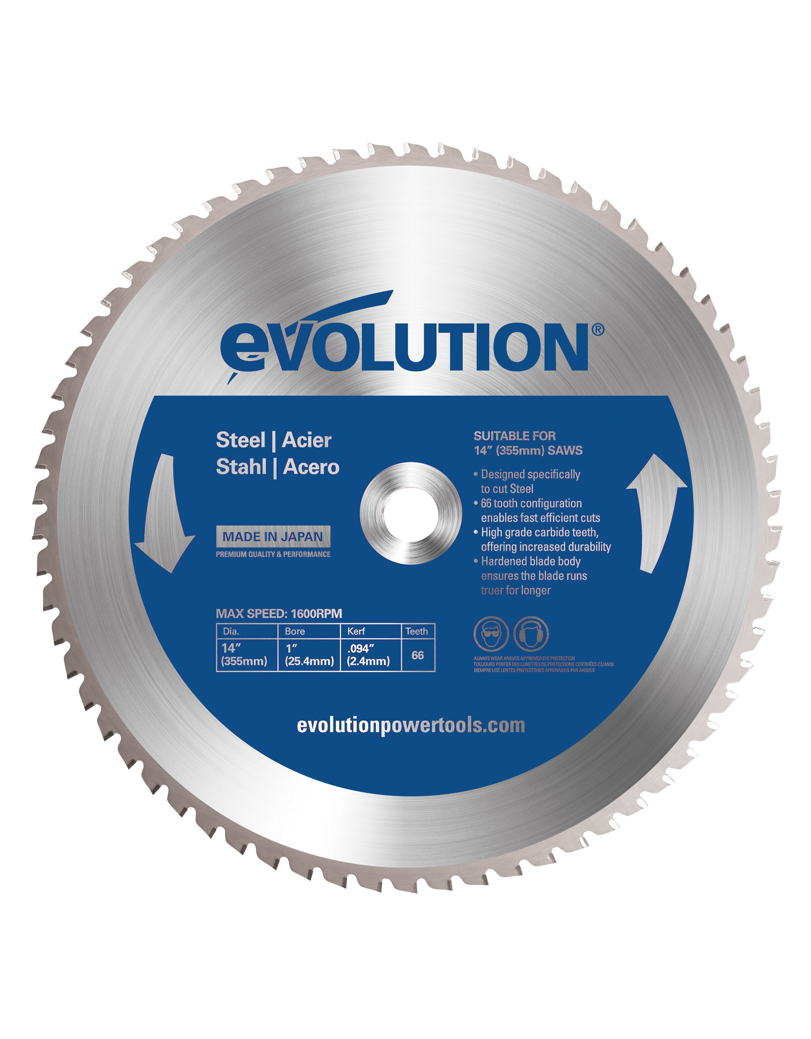 Evolution Power Tools Steel Line LAME ACIER 355 MM