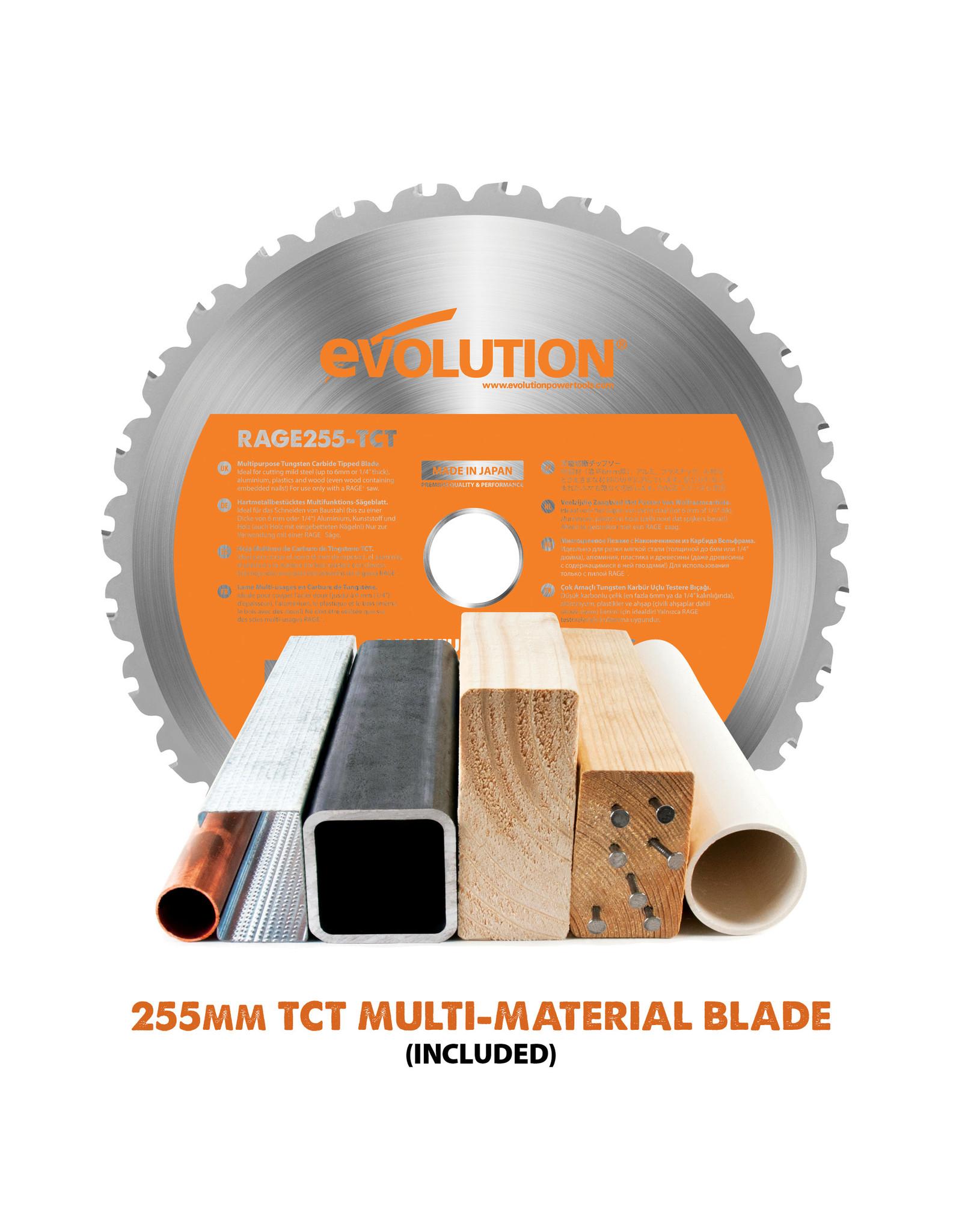 Evolution Power Tools Build Line SCIE A ONGLET COULISSANT R 255 SMS+ + 1 LAME GRATUITE