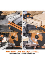 Evolution Power Tools Build Line VEELZIJDIGE VERSTEKZAAG RAGE R255SMS-DB+ + GRATIS ZAAGBLAD VOOR HOUT